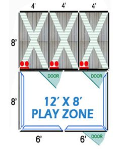 12' X 8' Complete Playzone W/Multiple 4' X 8' PRO Dog Kennels X3