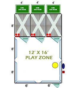 12' X 16' Ultimate Playzone W/Multiple 4' X 8' PRO Dog Kennels X3