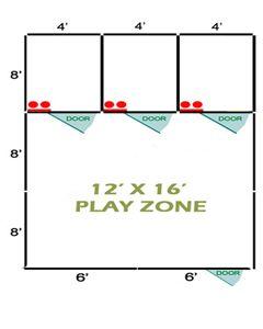 12' X 16' Basic Playzone W/Multiple 4' X 8' PRO Dog Kennels X3