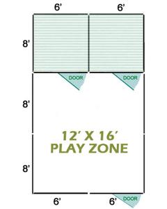 12' X 16' Vinyl Playzone W/Multiple 6' X 8' Dog Kennels X2