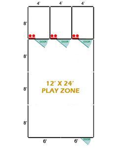 12' X 8' Basic Playzone W/Multiple 4' X 8' PRO Dog Kennels X3