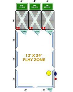 12' X 24' Ultimate Playzone W/Multiple 4' X 8' PRO Dog Kennels X3