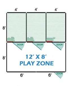 12' X 8' Vinyl Playzone W/Multiple 4' X 8' Dog Kennels X3