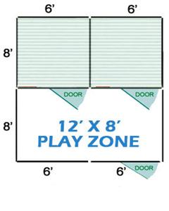 12' X 8' Vinyl Playzone W/Multiple 6' X 8' Dog Kennels X2