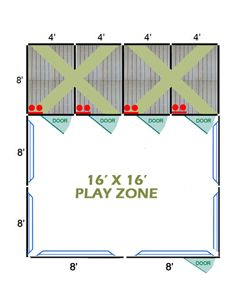 16' X 16' Complete Playzone W/Multiple 4' X 8' PRO Dog Kennels X4