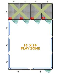 16' X 24' Complete Playzone W/Multiple 4' X 8' PRO Dog Kennels X4