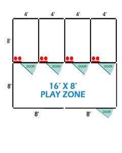 16' X 8' Basic Playzone W/Multiple 4' X 8' PRO Dog Kennels X4
