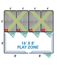 16' X 8' Complete Playzone W/Multiple 4' X 8' PRO Dog Kennels X4
