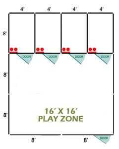 16' X 16' Basic Playzone W/Multiple 4' X 8' PRO Dog Kennels X4