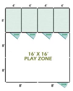 16' X 16' Vinyl Playzone W/Multiple 6' X 8' Dog Kennels X4