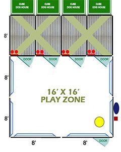 16' X 16' Ultimate Playzone W/Multiple 4' X 8' PRO Dog Kennels X4