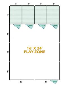 16' X 24' Vinyl Playzone W/Multiple 6' X 8' Dog Kennels X2