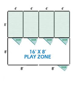 16' X 8' Vinyl Playzone W/Multiple 6' X 8' Dog Kennels X4