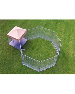 18' X 18' Heptagon Standard Kennel With Cozy Nook (Powder-Coated)