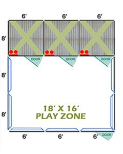 18' X 16' Complete Playzone W/Multiple 6' X 8' PRO Dog Kennels X3