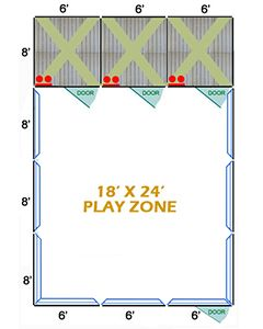 18' X 24' Complete Playzone W/Multiple 6' X 8' PRO Dog Kennels X3