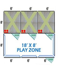 18' X 8' Complete Playzone W/Multiple 6' X 8' PRO Dog Kennels X3