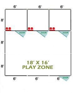 18' X 16' Basic Playzone W/Multiple 6' X 8' PRO Dog Kennels X3
