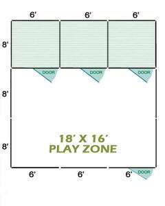 18' X 16' Vinyl Playzone W/Multiple 6' X 8' Dog Kennels X3