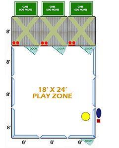 18' X 24' Ultimate Playzone W/Multiple 6' X 8' PRO Dog Kennels X3