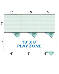 18' X 8' Vinyl Playzone W/Multiple 6' X 8' Dog Kennels X3