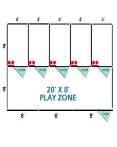 20' X 8' Basic Playzone W/Multiple 4' X 8' PRO Dog Kennels X5
