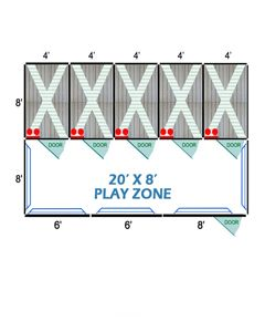 20' X 8' Complete Playzone W/Multiple 4' X 8' PRO Dog Kennels X5