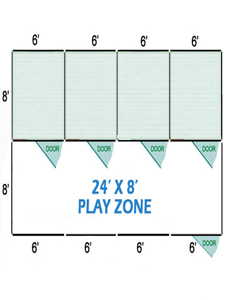 24' X 8' Vinyl Playzone W/Multiple 6' X 8' Dog Kennels X4