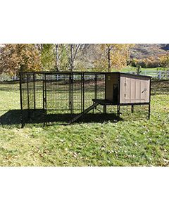 4' x 10' Run With 4' x 4' K9 Kennel Castle/Barn House And Metal Cover (Complete)