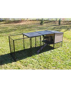 4' x 12' Run With 4' x 4' K9 Kennel Castle/Barn House And Metal Cover (Complete)
