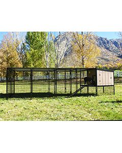 4' x 16' Run With 4' x 4' K9 Kennel Castle/Barn House And Metal Cover (Complete)