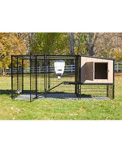 4' x 10' Run With 4' x 4' K9 Kennel Castle/Barn House And Metal Cover (Ultimate)