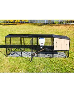 4' x 12' Run With 4' x 4' K9 Kennel Castle/Barn House And Metal Cover (Ultimate)