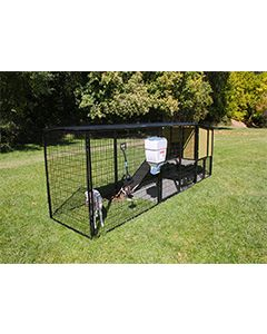 4' x 16' Run With 4' x 4' K9 Kennel Castle/Barn House And Metal Cover (Ultimate)