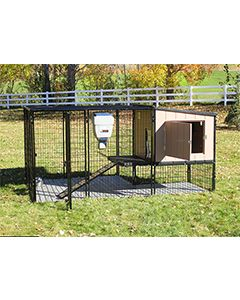 4' x 6' Run With 4' x 4' K9 Kennel Castle/Barn House And Metal Cover (Ultimate)