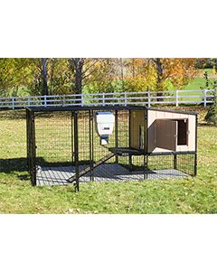 4' x 8' Run With 4' x 4' K9 Kennel Castle/Barn House And Metal Cover (Ultimate)