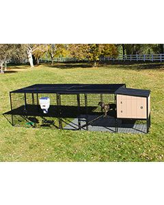 8' x 12' Run With 4' x 4' K9 Kennel Castle/Barn House And Metal Cover (Ultimate)