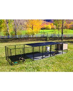 8' x 24' Run With 4' x 4' K9 Kennel Castle/Barn House And Metal Cover (Ultimate)