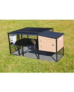 8' x 6' Run With 4' x 4' K9 Kennel Castle/Barn House And Metal Cover (Ultimate)