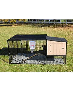 8' x 8' Run With 4' x 4' K9 Kennel Castle/Barn House And Metal Cover (Ultimate)