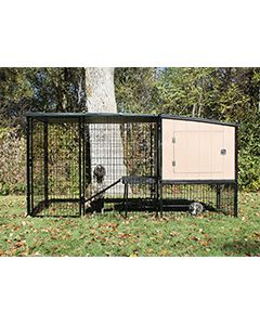 4' x 6' Run With 4' x 4' K9 Kennel Castle/Barn House And Metal Cover (Complete)