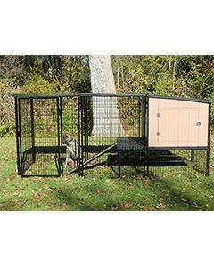4' x 8' Run With 4' x 4' K9 Kennel Castle/Barn House And Metal Cover (Complete)
