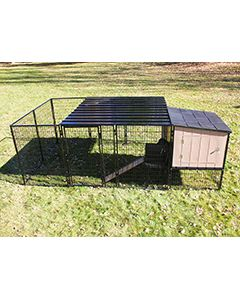 8' x 12' Run With 4' x 4' K9 Kennel Castle/Barn House And Metal Cover (Complete)