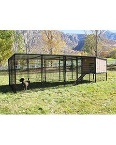 8' x 16' Run With 4' x 4' K9 Kennel Castle/Barn House And Metal Cover (Complete)