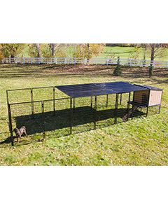 8' x 24' Run With 4' x 4' K9 Kennel Castle/Barn House And Metal Cover (Complete)
