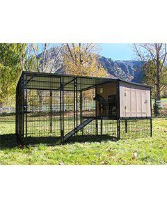 8' x 6' Run With 4' x 4' K9 Kennel Castle/Barn House And Metal Cover (Complete)