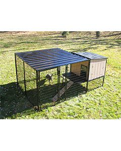8' x 8' Run With 4' x 4' K9 Kennel Castle/Barn House And Metal Cover (Complete)