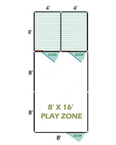 8' X 16' Vinyl Playzone W/Multiple 4' X 8' Dog Kennels X2