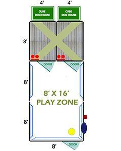 8' X 16' Ultimate Playzone W/Multiple 4' X 8' PRO Dog Kennels X2