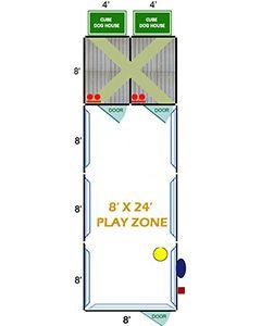 8' X 24' Ultimate Playzone W/Multiple 4' X 8' PRO Dog Kennels X2